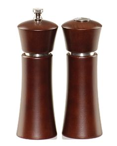 The new six inch tall Pueblo pepper mill and salt shaker set will be a contemporary addition to your table.     Finished in a rich, mocha stain, the pepper mill is fitted with our Pennsylvania-made stainless steel mechanism.    A stainless steel band adds a touch of class to the set appearance.    Lifetime guarantee on grinding mechanism.