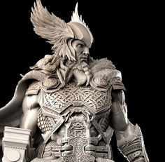 [image] Title: - Thor - Name: David Molina Country: Colombia Software: ZBrush Maya Submitted: February 2016 A Private Commission i did last year. The idea on the concept is that the Helmet and Hammer were th… Arte Viking, Viking Art, Viking Warrior, Viking Logo, Armadura Viking, Thor Tattoo, Thor Norse, Celtic Warriors, Norse Vikings