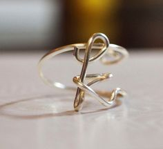 initial k wire wrapped ring by WireNameART on Etsy