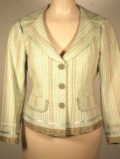 NWOT Nanette Lepore linen/cotton short cute blazer, aqua/brown, lace, 2, lined #NanetteLepore #Blazer