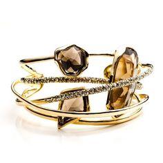 Hyperion Gold Smoky Quartz Five Ringed Cuff|Alexis Bittar