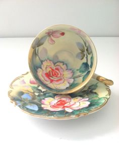 Vintage Handpainted Footed Napco China Teacup and Saucer Downton Abbey Inspired Tea Party on Wanelo