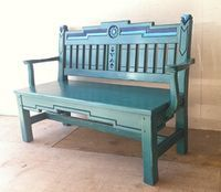 Benches With Storage, Cushion Seat Or Wooden In Great Southwest Style. Southwestern Benches, Southwestern Home, Southwest Decor, Southwest Style, Southwestern Decorating, Lawn Furniture, Funky Furniture, Furniture Design, Mexican Furniture