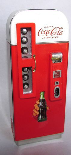 """Scary Miniatures Hand Made OOAK 1/12 scale Coca Cola Vendo Vending Machine = Here is a Scary Miniatures OOAK 1/12 scale  vintage Cocal Cola Vending machine.  Modeled after real machine. This piece is completely hand made. It is  """"original"""" Vintage Arcade Originals. These are 100 % handcrafted with hardwoods, resins, and machined metal parts. Hand signed and numbered.  This little vending machine has been painstakingly detailed and will look great in your miniature collection. Z"""