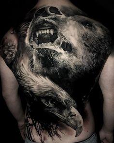 Bear & Eagle Full Back Piece - Tattoo Rücken - Tattoo Tatoo Art, Body Art Tattoos, Sleeve Tattoos, Full Back Tattoos, Back Tattoos For Guys, Back Piece Tattoo Men, Eagle Back Tattoo, Eagle Chest Tattoo, Traditional Bear Tattoo