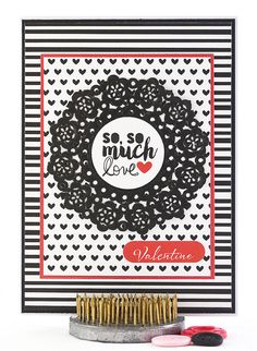 Whether you call it Valentine's Day or V Day, this homemade Valentine's Day card shows off its classic red, black and white color scheme in style. #thecardkiosk