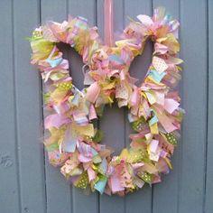 Easter Wreath - Bunny Wreath - Fabric Wreath  aworkofheartsa.etsy.com