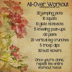 Easy, quick, better than nothing, to get u going on an unmotivated or time crunched day