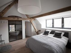 Attic spaces are considered difficult to decorate and accommodate everything you need. Today's roundup will prove that an attic bedroom can be an amazing . Attic Master Bedroom, Attic Bedroom Designs, Attic Bedrooms, Bedroom Loft, Home Bedroom, Bedroom Decor, Attic Bathroom, Design Bedroom, Bedroom Ideas