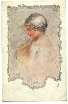 Amy Millicent Sowerby - English (1878-1967) - Pearl from a set of 6 postcards
