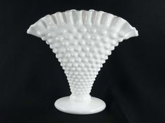 Small Fenton Milk Glass Hobnail Fan Ruffled Vase 6 by ChromaticWit, $10.99