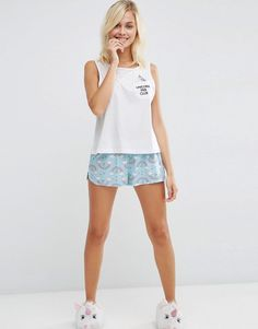ASOS | ASOS Unicorn Fan Club Vest & Short Pyjama Set at ASOS