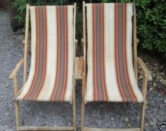 2 X Vintage Retro Wooden Deck Chairs