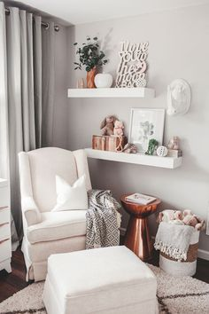 Project Nursery - Nursing Nook in Neutral Girls Nursery with Copper Accents - Project Nursery - Baby Nursery Today Baby Bedroom, Baby Room Decor, Nursery Room, Babies Nursery, Bedroom Wall, Unisex Nursery Ideas, Baby Nursery Ideas For Girl, Nursery Rocker, Baby Girl Nursery Decor