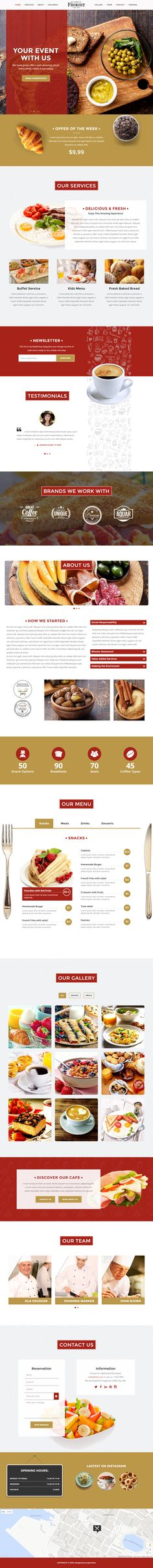 Buy Frokost - One Page Restaurant Cafe WordPress Theme by XpeedStudio on ThemeForest. A Restaurant WordPress Theme Frokost is a clean fully responsive One page Wordpress Theme made for any Restaurant / C. Website Design Layout, Web Layout, Layout Design, Restaurant Website Design, Restaurant Themes, Restaurant Restaurant, Food Web Design, Menu Design, Cafe Design
