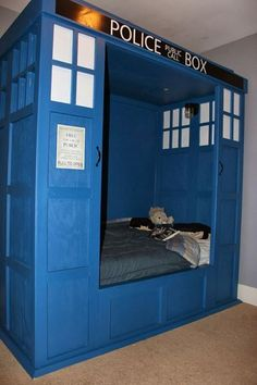 TARDIS bed found on https://www.facebook.com/photo.php?fbid=709273142460713&set=a.414413855279978.99986.276710412383657&type=1