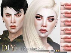 DIY Lip Piercing Set by Pralinesims at TSR via Sims 4 Updates
