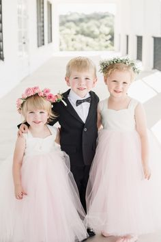 Wedding kids, pink tulle dress, flower girls, floral crowns, ring bearer, black-tie style // Grey to Blue Photography