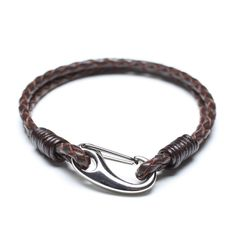 coffee leather bracelet with steel lobster clasp 00527