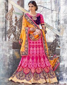 USD 368.09 Pink Net Wedding Lehenga Choli 48172