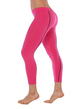 Just One Women's Athletic Fitness/Fashion Capri Leggings (Fuchsia with Black Piping, M) at Amazon Women's Clothing store: