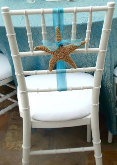 Interesting Reception Chair Decoration not using too much ribbon find object T likes, like a purple dried hydragea do every other chair? Beach Wedding Reception, Beach Wedding Favors, Nautical Wedding, Trendy Wedding, Summer Wedding, Beach Weddings, Wedding Ideas, Wedding Ceremony, Luau Wedding