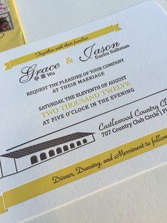 Custom letterpress wedding invitation by Fiore Press
