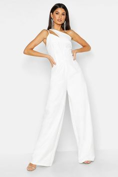 Womens Woven One Shoulder Jumpsuit - white - 10 - Woven One Shoulder Jumpsuit One Shoulder Jumpsuit, Jumpsuit With Sleeves, White Jumpsuit, Rompers Women, Jumpsuits For Women, Night Outfits, Fashion Outfits, All White Outfit, White Outfits