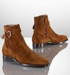 Handmade Men Brown Jodhpurs Ankle Boot, Men Genuine Suede Boots, Mens Boot…