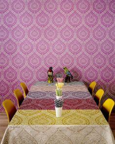 Osborne & Little Persian Garden Rosalia Damask Wallpaper available at Browsers Furniture Co., Limerick, Ireland