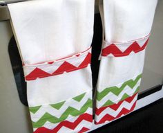 Hanging Towel Christmas Red Green Chevron by MissyMadeWell on Etsy