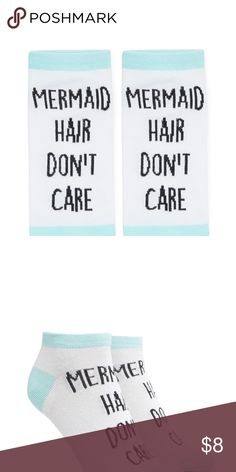 ✨SALE✨ Mermaid Hair Don't Care Ankle Socks New! Ankle Socks with words Mermaid Hair Don't Care from Forever 21 Forever 21 Accessories Hosiery & Socks