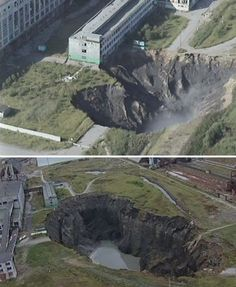 "2. Berezniki  In Soviet Russia, the ground moves you. Berezniki's sinkhole began in 1986 and just grows worse with each passing year. It's unstoppable. Currently it's over 200m deep, 80m long and 40m wide. In case you're thinking ""Berezniki? Who cares?"" you should know that 10% of the world output of potash comes from this area, and the sinkhole is very close to destroying the mine's sole rail line."