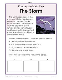 After reading a brief passage about storms, students are prompted to write the main idea and 3 details.