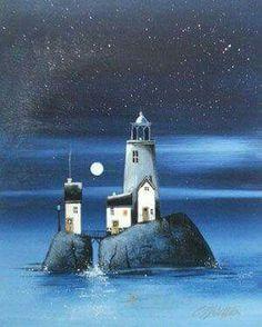 ❤ One of My Favorite Things: Lighthouses Watercolor Landscape, Watercolor Art, Lighthouse Art, Illustration Art, Illustrations, Am Meer, Naive Art, Art For Art Sake, Beach Art