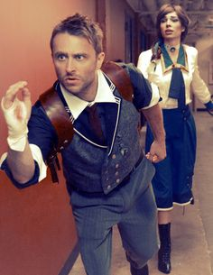 Booker and Elizabeth (Bioshock Infinite) cosplay by Chris Hardwick and his girlfriend Chloe Dykstra @ SDCC. love this