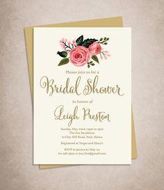 Floral Bridal Shower Invitation DIY // Watercolor Rose Flower // Gold Calligraphy, Pink Rose on Cream / Printable PDF ▷ Bridal Shower Invite by JadeForestDesign on Etsy
