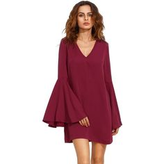 SheIn Women's V Neck Bell Long Sleeve Shift Dress (470 UAH) ❤ liked on Polyvore featuring dresses, red dress, v neck dress, v neckline dress, red v neck dress and v neck shift dress