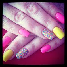Neon yellow pink & multi coloured polka dots