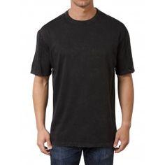 Minerals Short-Sleeve T Shirt Mineral Washed Pima Crew Neck (Black)