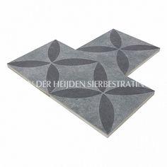 Duostone 60x60x4 cm Dessin Flower Black on Grey