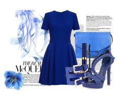 """""""BLUE"""" by tijanax ❤ liked on Polyvore featuring Victoria Beckham, Alexander McQueen and Estée Lauder"""