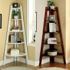 Ladder Bookcase In Bedroom Awesome Corner Ladder Shelf Master Bedroom Rfect for My Corner Ladder Shelf, Corner Bookshelves, Bookcase Shelves, Ladder Bookcase, Display Shelves, Ladder Display, Corner Shelves Living Room, Corner Plant Shelf, Ladder Shelf Decor