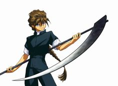 Duo and his scythe.  From Gundam Wing.