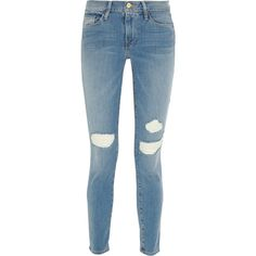 Frame Denim Le Skinny de Jeanne distressed mid-rise jeans ($270) ❤ liked on Polyvore featuring jeans, pants, bottoms, calça, jeans/pants, light blue, j.crew skinny jeans, destroyed skinny jeans, light blue skinny jeans and skinny jeans