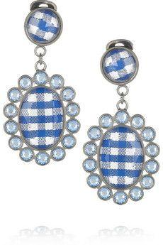 MIU MIU  Gingham and plexiglass crystal clip earrings