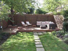 very shady corner seat in a small british garden - Google Search