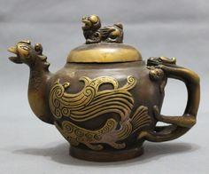 Chinese Bronze Bird Peacock Phoenix Head Statue Unicorn Lion Wine Tea Pot Flagon | eBay