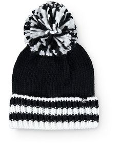 Heat things up when the temperatures drop with this thick knit beanie that features a foldover design with a contrast stripe cuff and a large size pom at the top.