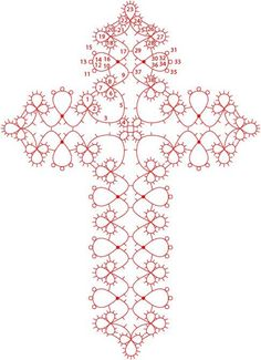 Josephine Cross tatting chart with written pattern. It is a 2-shuttle pattern, using Josephine rings. Sample cross pic at site (http://www.bentats.nl/). *p*
